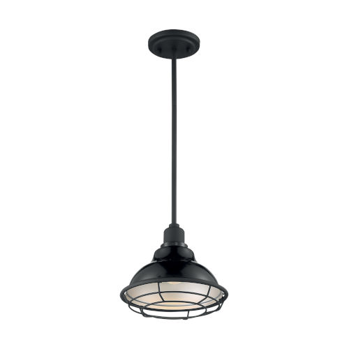 Newbridge Gloss Black and Silver 10-Inch One-Light Pendant