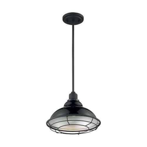 Newbridge Gloss Black and Silver 12-Inch One-Light Pendant