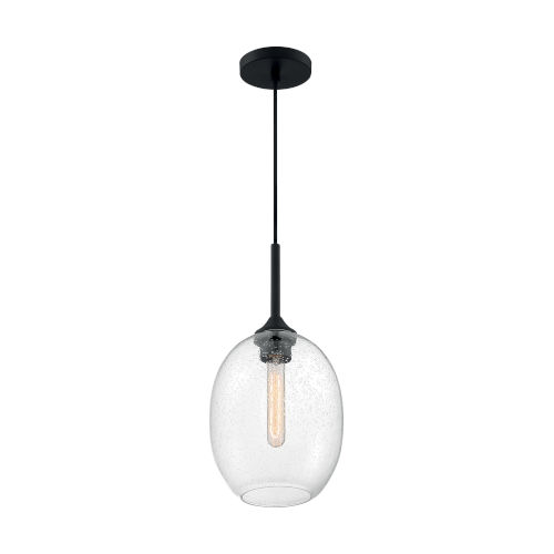 Aria Matte Black 17-Inch One-Light Pendant with Clear Seeded Glass