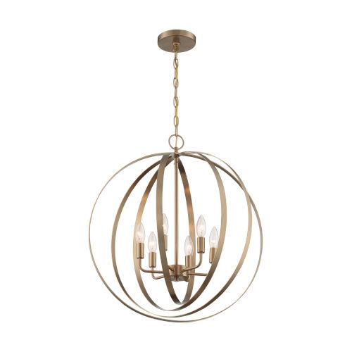 Pendleton Burnished Brass Six-Light Pendant