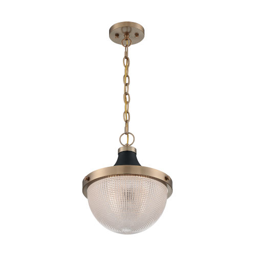 Faro Burnished Brass and Black 14-Inch One-Light Pendant
