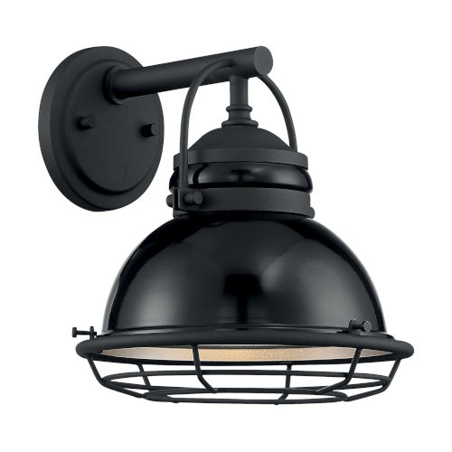Upton Gloss Black and Silver 10-Inch One-Light Outdoor Wall Mount