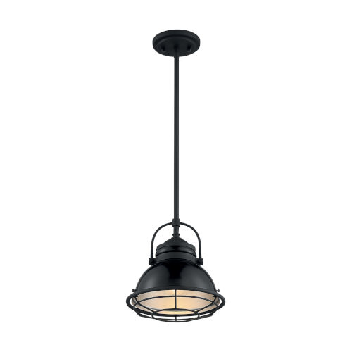 Upton Gloss Black and Silver 10-Inch One-Light Pendant