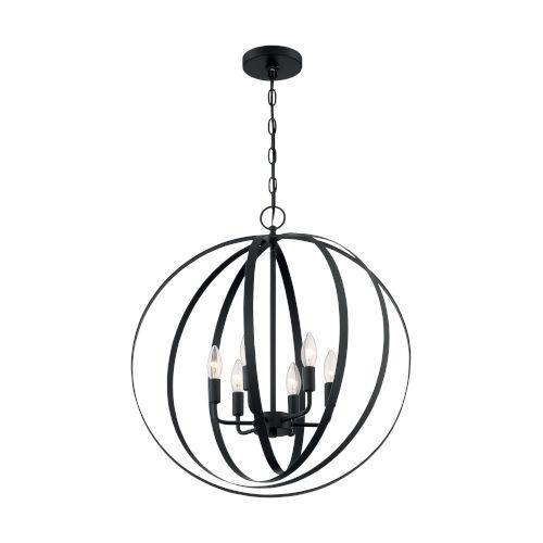 Pendleton Matte Black Six-Light Pendant