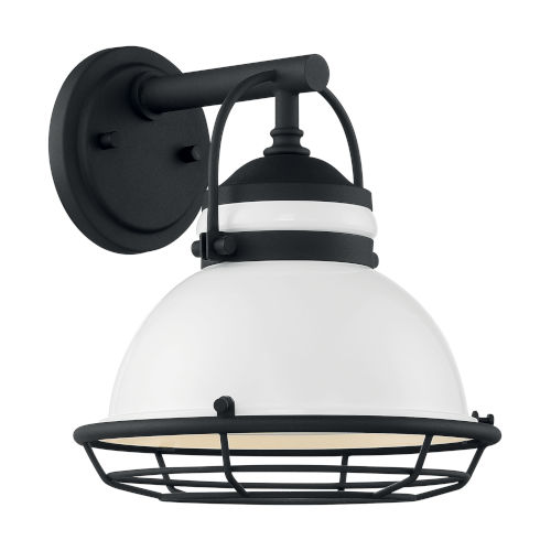 Upton Gloss White and Textured Black 10-Inch One-Light Outdoor Wall Mount