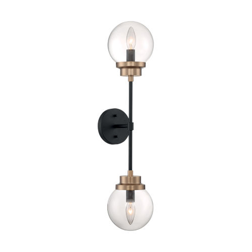 Axis Matte Black and Brass Two-Light Wall Sconce