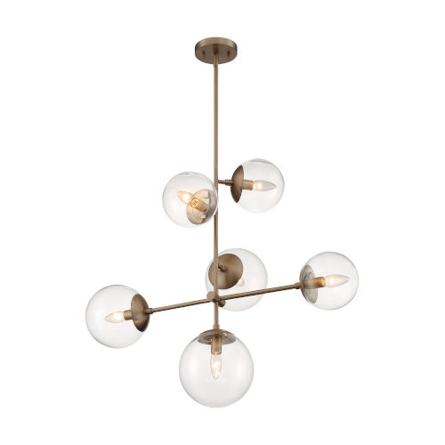 Sky Burnished Brass Six-Light Pendant