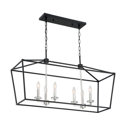 Storyteller Matte Black and Polished Nickel Six-Light Pendant