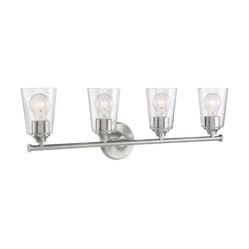 Bransel Brushed Nickel Four-Light Bath Vanity with Clear Seeded Glass