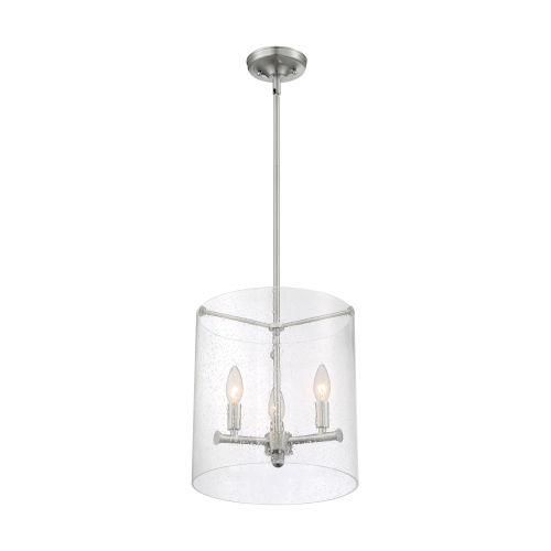 Bransel Brushed Nickel Three-Light Pendant with Clear Seeded Glass
