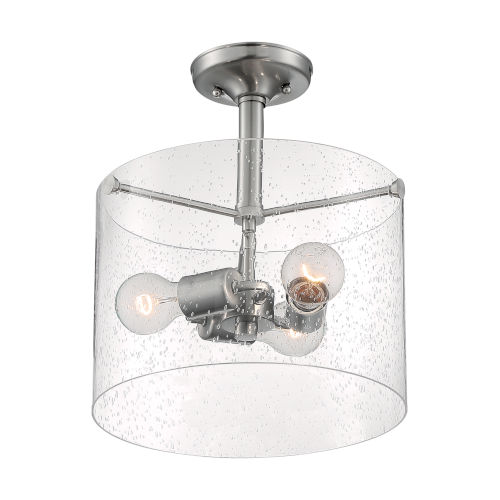 Bransel Brushed Nickel Three-Light Semi-Flush Mount with Clear Seeded Glass