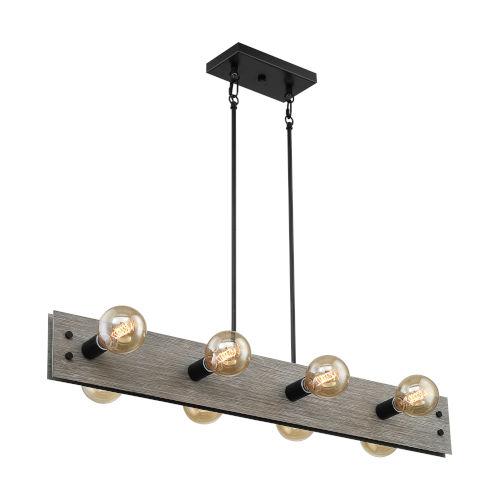 Stella Driftwood and Black Eight-Light Pendant
