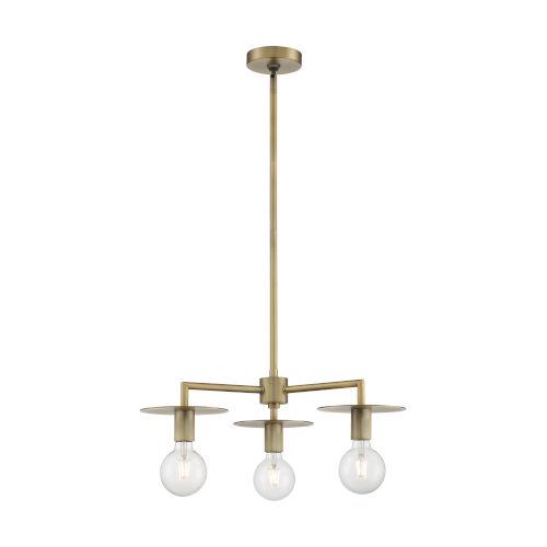 Bizet Vintage Brass Three-Light Chandelier