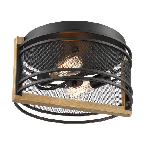 Atelier Black and Honey Wood Two-Light Flush Mount