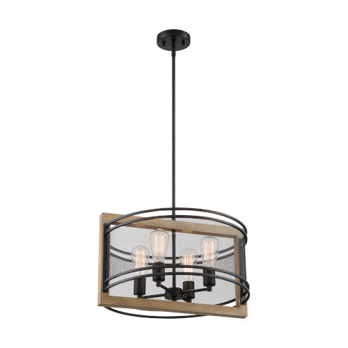 Atelier Black and Honey Wood Four-Light Pendant