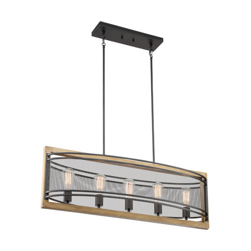 Atelier Black and Honey Wood Five-Light Pendant