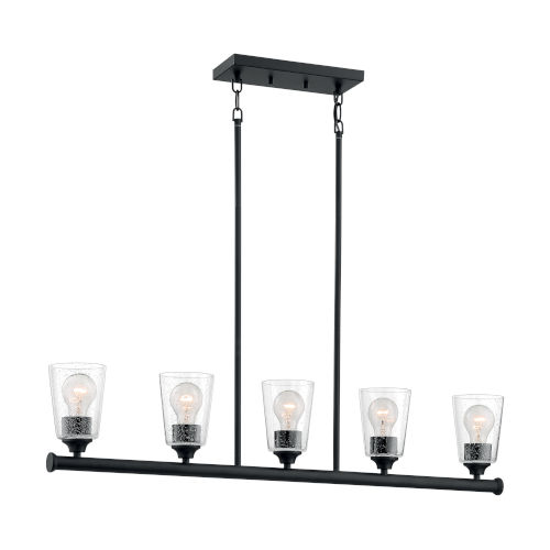 Bransel Matte Black Five-Light Pendant with Clear Seeded Glass