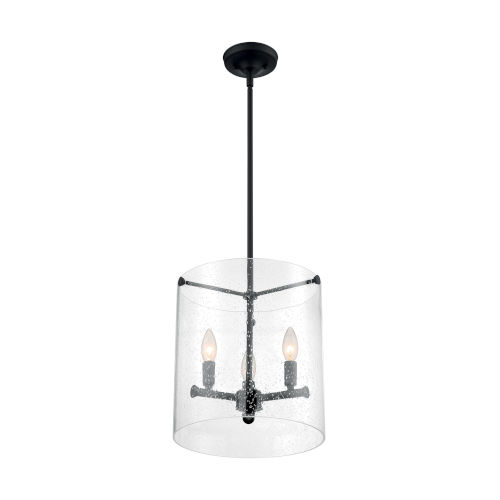 Bransel Matte Black Three-Light Pendant with Clear Seeded Glass