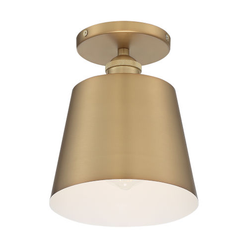 Motif Brushed Brass and White Seven-Inch One-Light Semi-Flush Mount