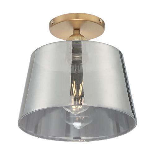 Motif Brushed Brass and Smoked Glass 10-Inch One-Light Semi-Flush Mount