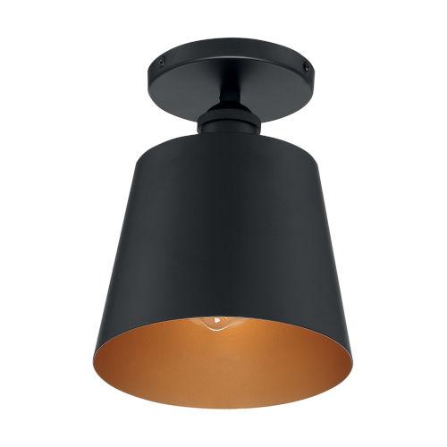 Motif Black and Gold Seven-Inch One-Light Semi-Flush Mount