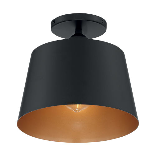 Motif Black and Gold 10-Inch One-Light Semi-Flush Mount