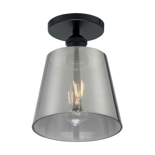 Motif Black and Smoked Glass Seven-Inch One-Light Semi-Flush Mount