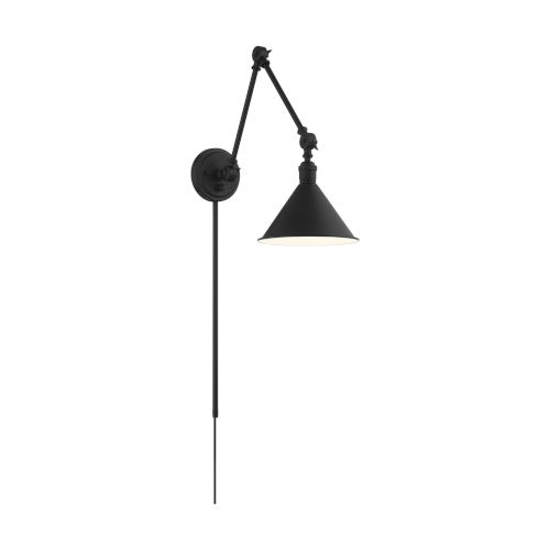 Delancey Black One-Light Adjustable Swing Arm Wall Sconce