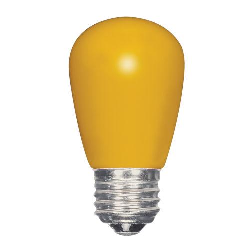 SATCO Ceramic Yellow LED S14 Medium 1.4 Watt Sign and Indicator Bulb with K Lumens CRI and 360 Degrees Beam