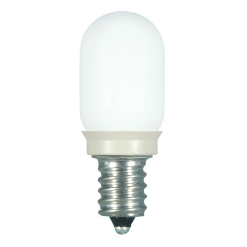 SATCO Coated White LED T6 Candelabra 0.8 Watt Sign and Indicator Bulb with 2700K 25 Lumens 80 CRI and 360 Degrees Beam