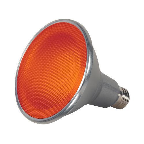 SATCO Amber LED PAR38 Medium 15 Watt PAR LED Bulb with K Lumens CRI and 40 Degrees Beam