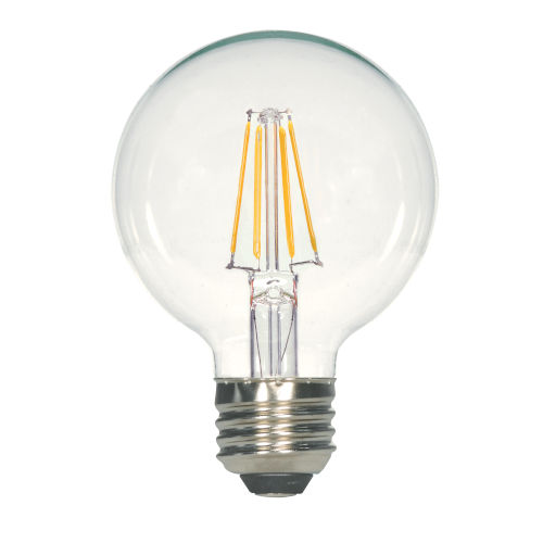 SATCO Clear LED G25 Medium 6.5 Watt LED Filament Bulb with 2700K 810 Lumens 80 CRI and 360 Degrees Beam