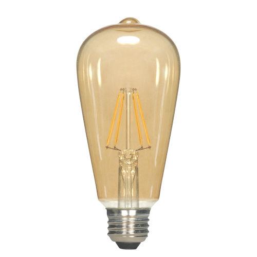 SATCO Transparent Amber LED ST19 Medium 4.5 Watt LED Filament Bulb with 2300K 400 Lumens 80 CRI and 360 Degrees Beam