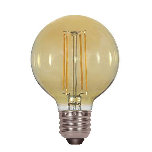 SATCO Transparent Amber LED G25 Medium 4.5 Watt LED Filament Bulb with 2200K 380 Lumens 80 CRI and 360 Degrees Beam