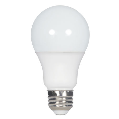 SATCO Frosted White LED A19 Medium 10 Watt Type A Bulb with 2700K 800 Lumens 90+ CRI and 220 Degrees Beam