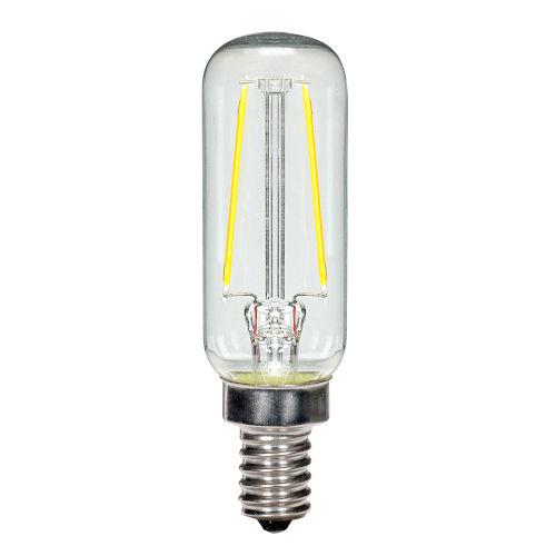 SATCO Clear LED T6 Candelabra 2.5 Watt LED Filament Bulb with 2700K 200 Lumens 80 CRI and 360 Degrees Beam