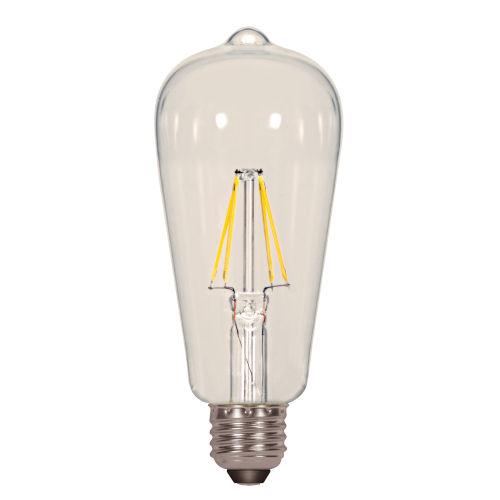 SATCO Clear LED ST19 Medium 6.5 Watt LED Filament Bulb with 3000K 810 Lumens 80 CRI and 360 Degrees Beam