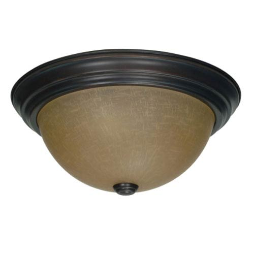 Nuvo Lighting Mahogany Bronze Two-Light Flush Mount with Champagne Washed Linen Glass