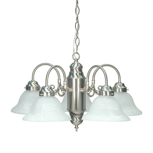 Nuvo Lighting Brushed Nickel Five-Light Chandelier with Alabaster Glass