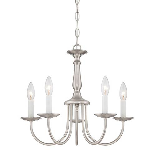Brushed Nickel Five-Light Chandelier with Candlesticks
