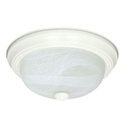 Nuvo Lighting Textured White Two-Light Flush Mount with Alabaster Glass