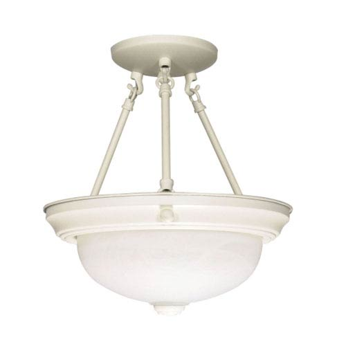 Nuvo Lighting Textured White Two-Light Semi Flush Mount with Alabaster Glass
