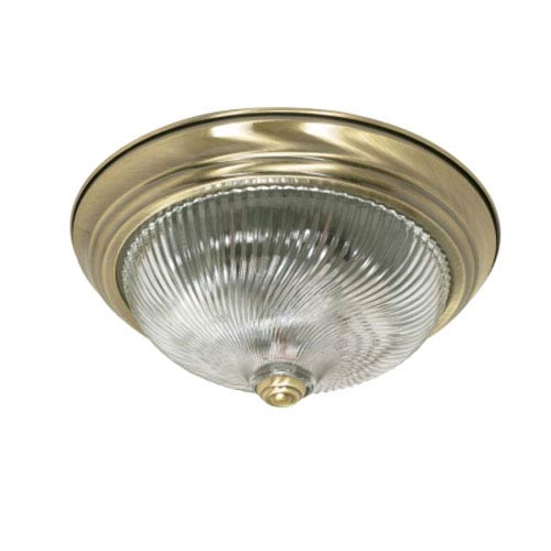 Nuvo Lighting Antique Brass Two-Light Flush Mount with Clear Swirl Glass
