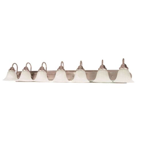 Ballerina Brushed Nickel Seven-Light Bath Fixture with Alabaster Glass