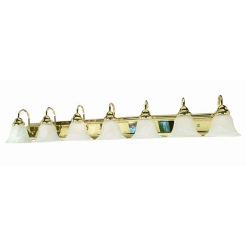 Nuvo Lighting Ballerina Polished Brass Seven-Light Bath Fixture with Alabaster Glass