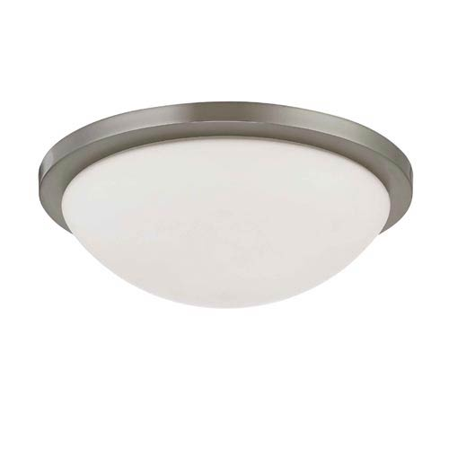 Nuvo Lighting Button Medium Brushed Nickel Energy Star Flush Mount Ceiling Light