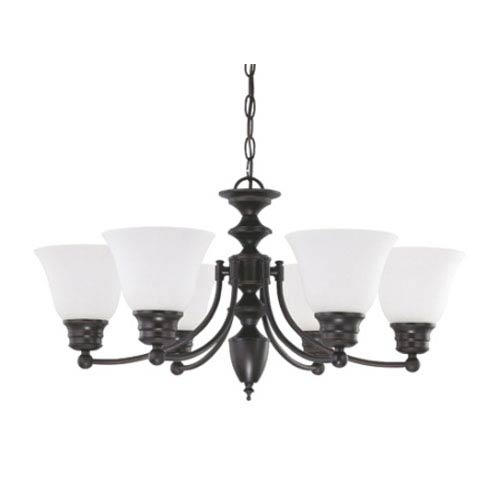 Nuvo Lighting Empire Mahogany Bronze Six-Light Chandelier with Frosted White Glass