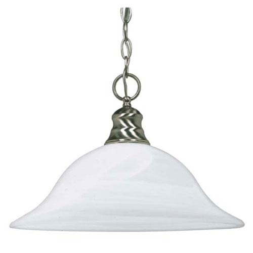 Nuvo Lighting Brushed Nickel One-Light Energy Star Pendant with Alabaster Glass
