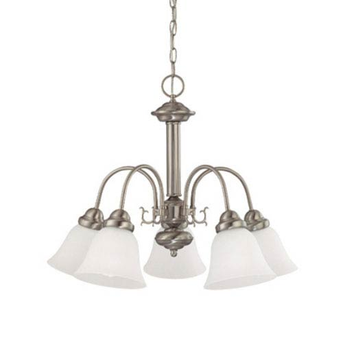 Nuvo Lighting Ballerina Brushed Nickel Five-Light Chandelier with Frosted White Glass