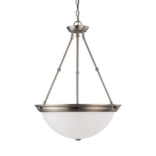 Nuvo Lighting Brushed Nickel Three-Light Pendant with Frosted White Glass